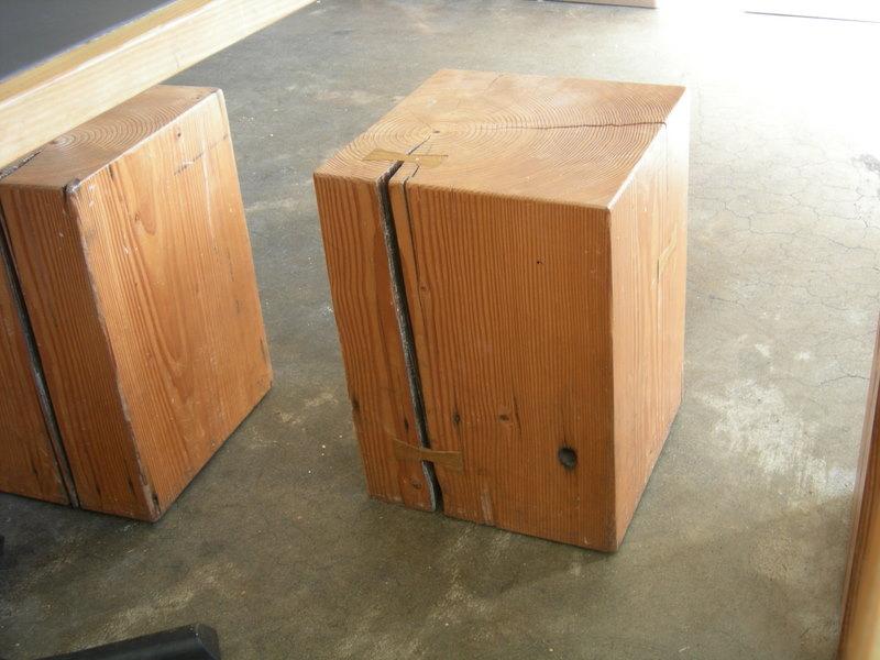 Wood block seats at Molly Moon's