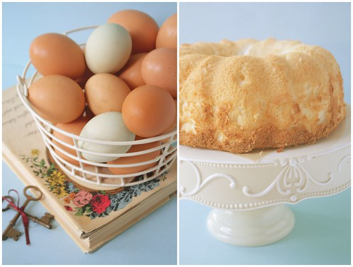 Basket of eggs and resulting angel food cake