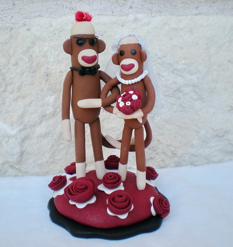 sock monkey wedding cake topper by SpiritMama.