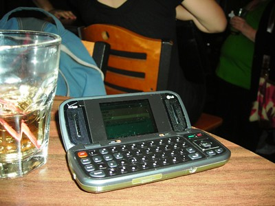 Setting up my phone for a text tweet during the Bufallo Bills #dcjtweetup / photo taken by Rachel Mauro