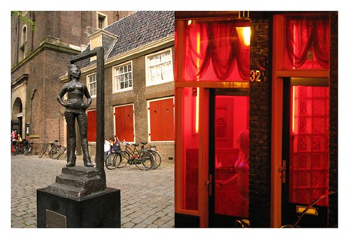 A very 'meaningful' statue in front of Oude Kerk and its inspiration- Amsterdam Red Light District by you.