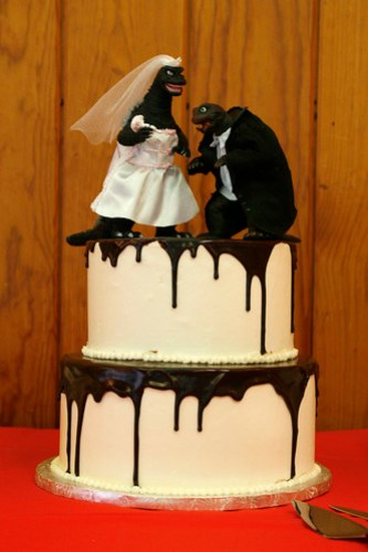 47 - The awesome cake, with Bridezilla and Groomera on top