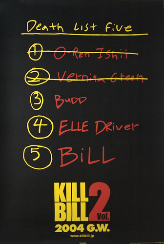 Kill Bill 2 Death List B1 size Japanese movie poster