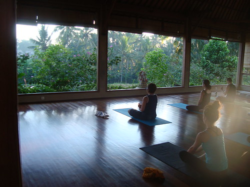 Morning yoga at the Yoga Barn overlooking the rice fields