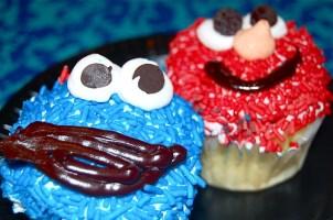 cupcakes! Cookie Monster = chocolate, Elmo = vanilla