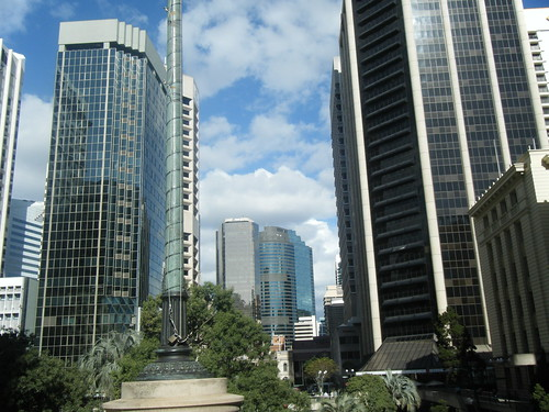 ANZAC Square, Brisbane. That sandstone building on the right is my hotel.