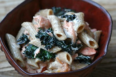 Creamy Penne with Kale, Salmon and Goat Cheese 1