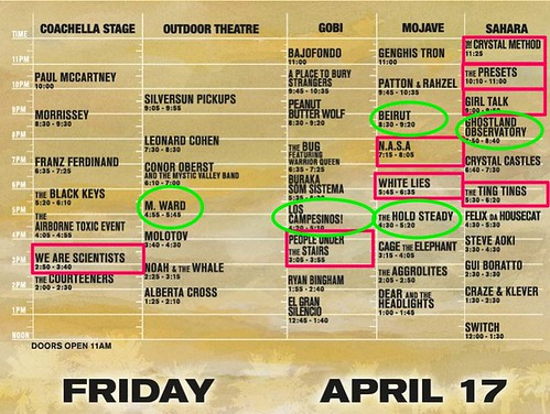 Coachella - Friday Set Times