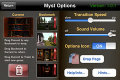 Myst iPhone: Settings Panel