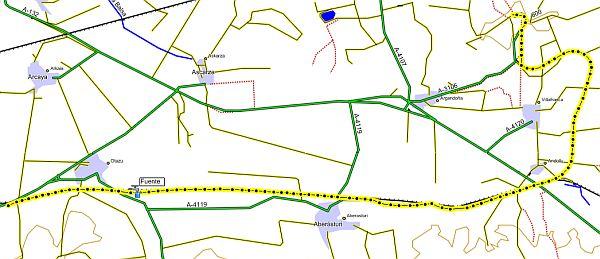 Mapa de la Vía Verde de Estíbaliz en Alava