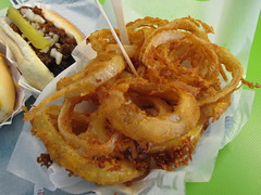 barker's red hots - onion rings
