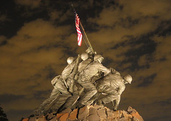 USMC Iwo Jima War Memorial at Night, World War...