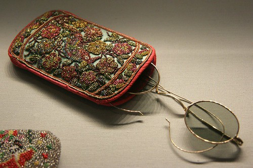 Beaded spectacle case.