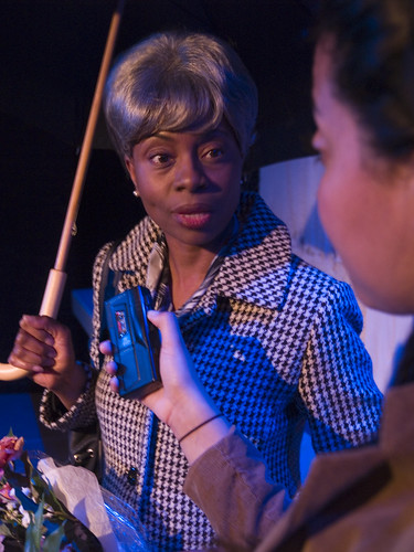 Eclipse ensemble member TayLar is Helen, interviewed by Zora (Niccole Thurman) about her memories of Coretta Scott King in Pearl Cleages A Song for Coretta