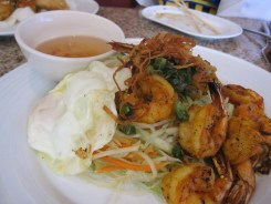 co'm grill - shrimp over fragrant rice w. egg by you.