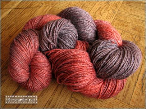 Superwash Merino-Bamboo Sock Yarn in Blood Orange in Wine
