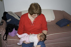Grandma Nancy plays with Elena.