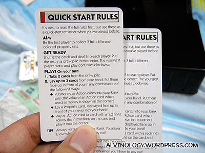 The Quick Start cards