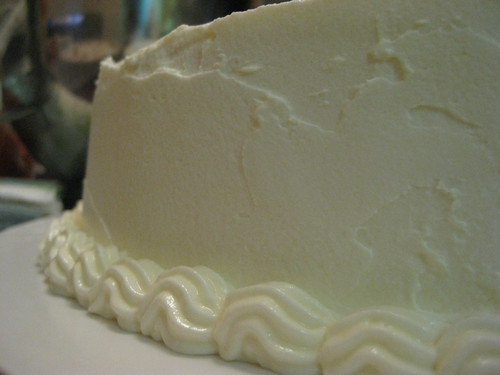 With the white chocolate cream cheese buttercream frosting