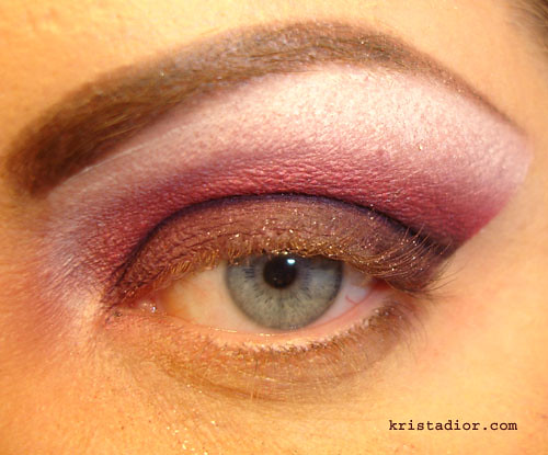 Blended eyeshadow look using medical tape