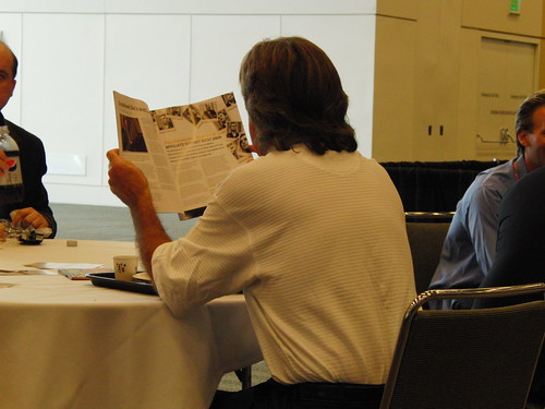Some guy reading FeedFront magazine at ad tech