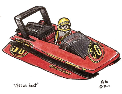 toy speedboat - sorry, 'rescue boat'