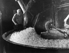 A worker mixing the pulp at the Florida Pulp a...