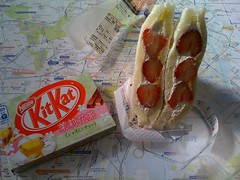 Breakfast: strawberry sandwich and tea Kit Kat
