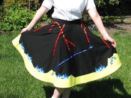 Missile Command circle skirt via http://www.evilmadscientist.com