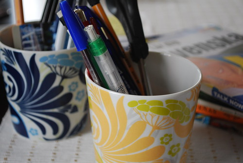 My blue and yellow mugs for pens