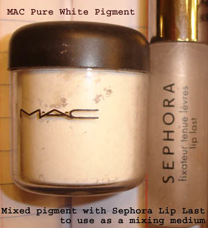 MAC Pure White Pigment & Sephora Lip Last