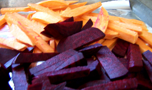 Sweet Potato and Red Beet fries