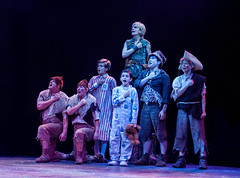(L to R) Michael McGurk, Sarah Marie Jenkins, Aidan Winn, Joshua Davis, Jenn Colella (back), Andy Richardson and Maria Briggs in Peter Pan, produced by Music Circus at the Wells Fargo Pavilion July 21-26, 2015. Photo by Kevin Graft.