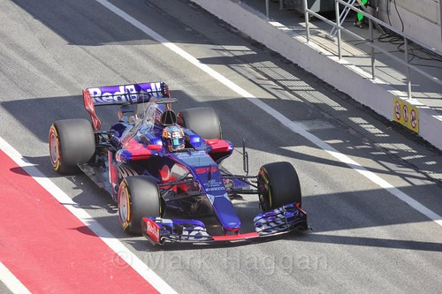 Daniil Kvyat in his Toro Rosso in Formula One Winter Testing 2017