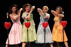 "Left to right:  Lowe Taylor as Cindy Lou, Lindsay Mendez as Betty Jean, Bets Malone as Suzy and Misty Cotton as Missy in the 2010 Music Circus premiere of ""The Marvelous Wonderettes"" at the Wells Fargo Pavilion August 17-22.  Photo by Charr Crail."
