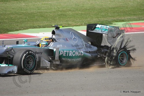Lewis Hamilton's tyre suffers catastrophic failure during The 2013 British Grand Prix
