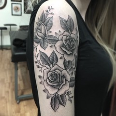Line and dot work roses
