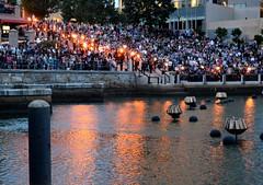 The beginning of WaterFire's lighting ceremony