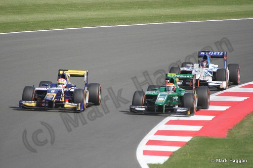 Felipe Nasr, Alexander Rossi and Jake Rosenzweig in the second GP2 race at the 2013 British Grand Prix