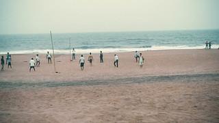 Volleyball practice in puri sea beach