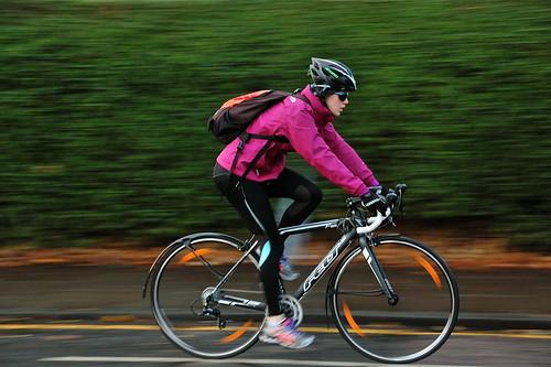 street city pink winter urban motion blur sunglasses bike... (Photo: jeremyhughes on Flickr)