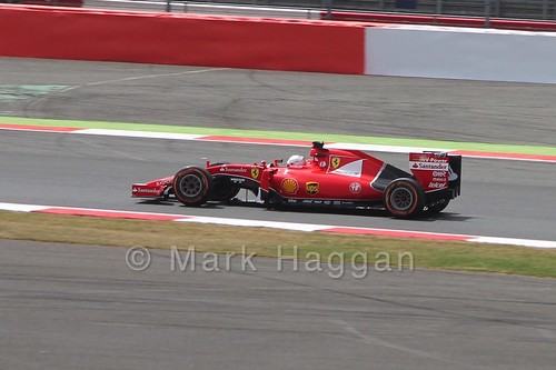Sebastian Vettel's Ferrari in Free Practice 2 at the 2015 British Grand Prix