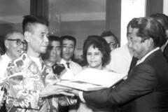 Sgt. Yokoi and Governor Carlos Camacho