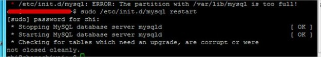 Linux Restart MySQL Services