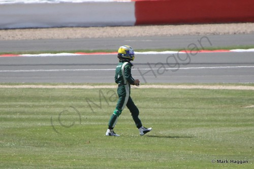 Marcus Ericsson after spinning off during Free Practice 1 at the 2014 British Grand Prix