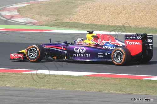Sebastian Vettel in his Red Bull during Free Practice 1 at the 2014 British Grand Prix