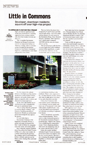 """Sacramento News & Review: """"Little in Commons - Developer, downtown residents square off over high-rise project"""""""