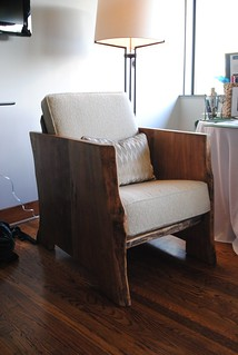 Live Edge Birch Arm Chair for Elementary School Auction.