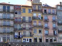 Porto - houses above shops on Cais da Ribeira