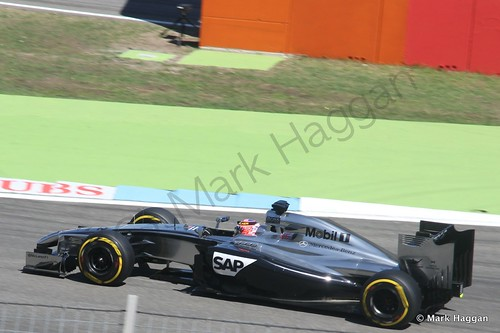 Jenson Button in his McLaren in Free Practice 2 at the 2014 German Grand Prix